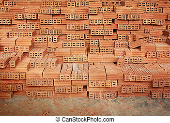 Stack of Raw Bricks