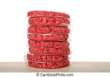 Stack of raw hamburger patties