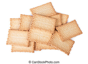 Stack of rectangular cookies isolated over white