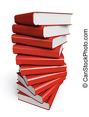 Stack of red books on white background