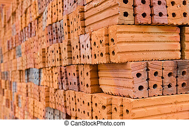 stack of red brick for preparing for construction