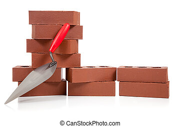 Stack of red bricks on white