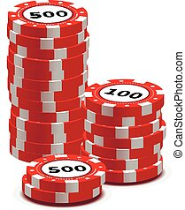 Stack of red gambling chips on white