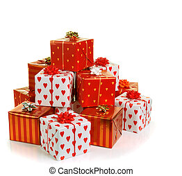 stack of red gift boxes