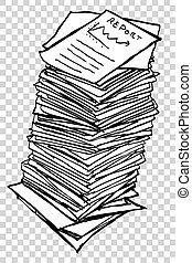 Stack of Reports - sketchy Stack of Business Reports, at ...
