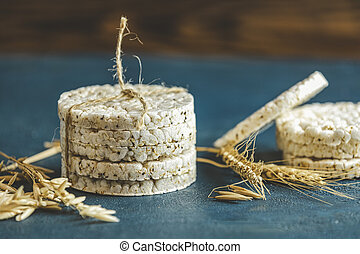 Stack of rice cakes. American puffed rice cakes. Healthy ...
