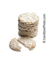 Stack of rice crackers isolated on white