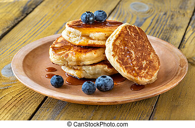 Stack of ricotta pancakes on the plate - Stack of ricotta ...