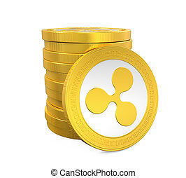 Stack of Ripple Coins Isolated - Stack of Ripple Coins...
