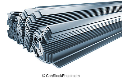 Stack of Rolled Metal Products Isolated on White.