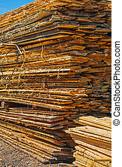 stack of rough wooden boards