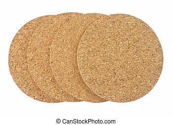 Stack of Round Cork Beverage Coasters on White Background