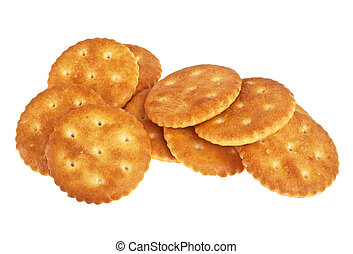 Stack of round crackers isolated on a white background