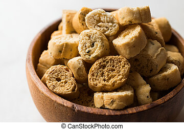 Stack of Round Shaped Crispy Rye Crouton Bread Biscuits /...
