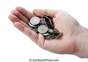 stack of Russian coins in the palm of a man on a white background