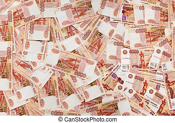Stack of Russian money 5000 rubles banknotes as background