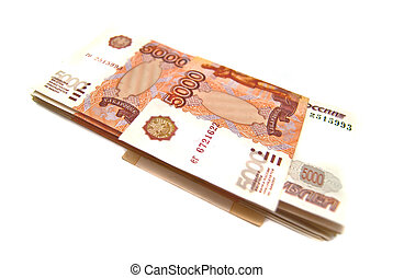 Stack of Russian money banknotes