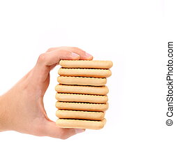 Stack of saltine soda crackers.