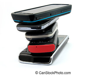 Stack of Several  Mobile Phones