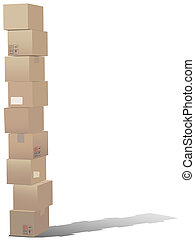 Stack of shipping carton boxes - A tall stack of shipping...