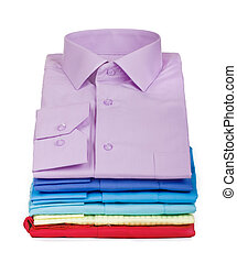 stack of shirts isolated on a white background