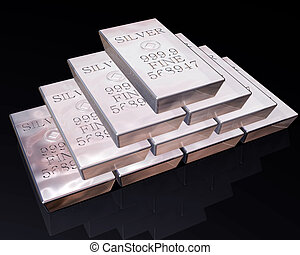 Stack of Silver bars - stack of pure silver bars on a...