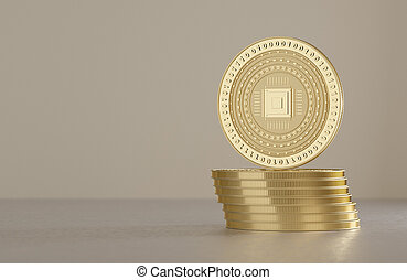 Stack of silver coins as example for virtual crypto currency, bitcoin and blockchain technology