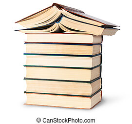 Stack of six old books with two open top rotated