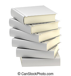Stack of six silver books isolated