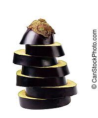 Stack of sliced eggplant.