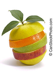 stack of sliced fresh mixed fruits over white background