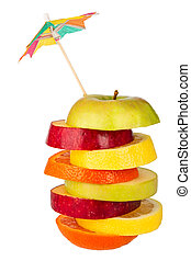 Stack of sliced fruit with straw from above