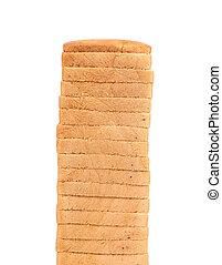Stack of sliced white bread
