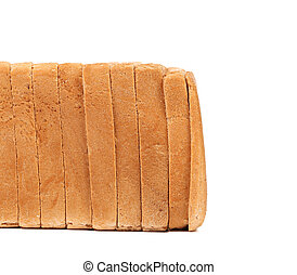 Stack of sliced white bread.
