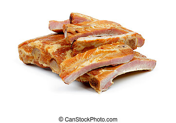 Smoked Pork Ribs - Stack of Smoked Pork Ribs Slices isolated...