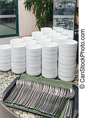 Stack of soup bowls