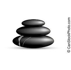 Stack of spa stones isolated on white