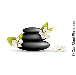Stack of spa stones with cherry white flowers isolated on white