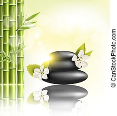 Stack of spa stones with cherry white flowers sunlight and bamboo with reflection on light-green