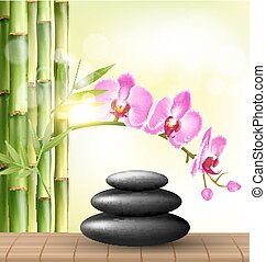 Stack of spa stones with orchid pink flowers and bamboo and sunlight on light-green