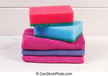Stack of sponge and cloth using at home for cleaning, household duties