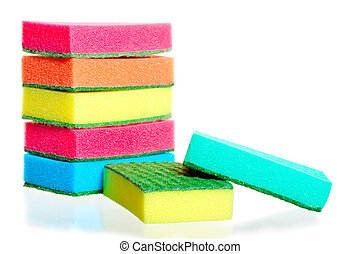 stack of sponges for washing dishes, and two nearby