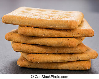 stack of square salt crackers