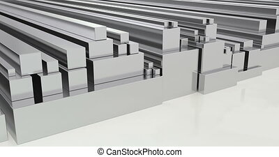 Stack of steel square bars, loop animation. 3D rendering