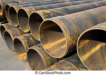 steel tubes - Stack of steel tubes industrial, construction...