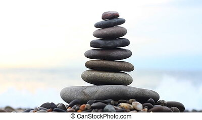 Stack of stones and Sea Splash