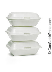 Stack of Styrofoam takeaway boxes on white background