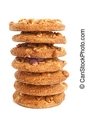 Stack of sugar cookies with peanuts