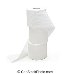 A stacked supply rolls of toilet paper isolated against white background