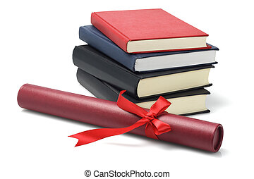 Graduation - Stack Of Text Books And Graduation Scroll...